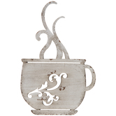 Antique White Coffee Cup Metal Wall Decor